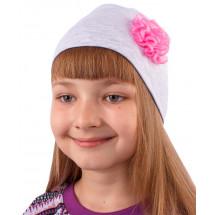 Шапка весенняя для девочек серая с маленьким цветочком